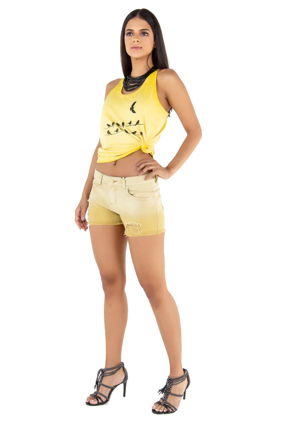 Short Sarja Feminino Curto Amarelo Degradê e Rasgados