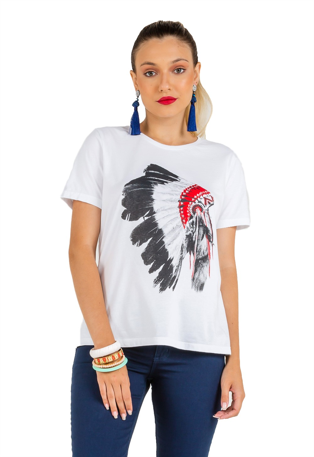 T-shirt Feminina Estampa Cocar