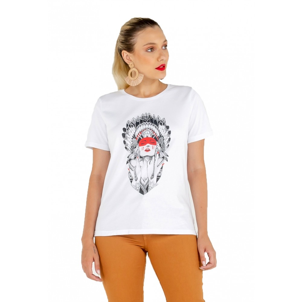 T-shirt Feminina Estampa India
