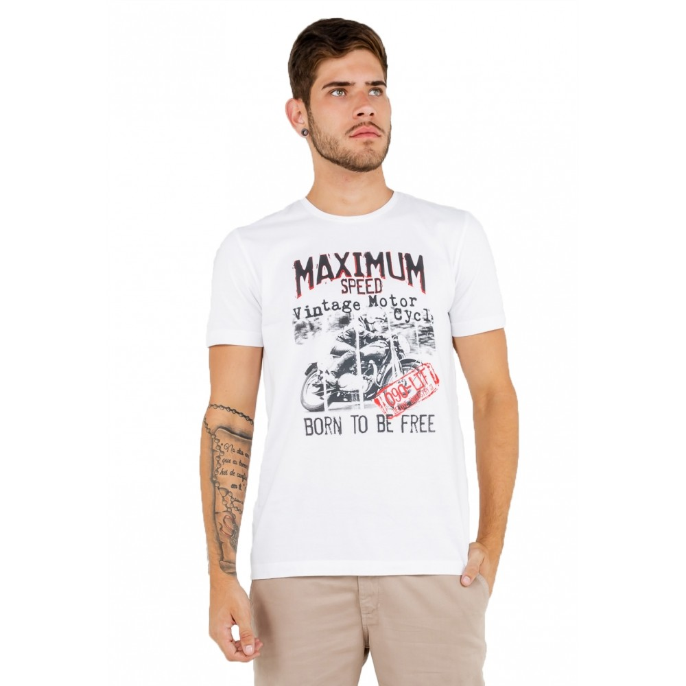 T-shirt Masculina Estampada Motorcycle
