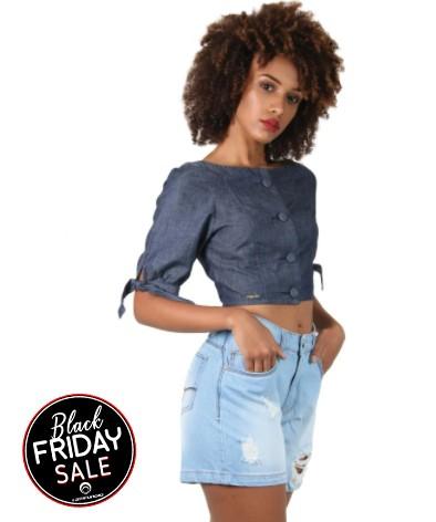 Top Jeans Feminino com Botão