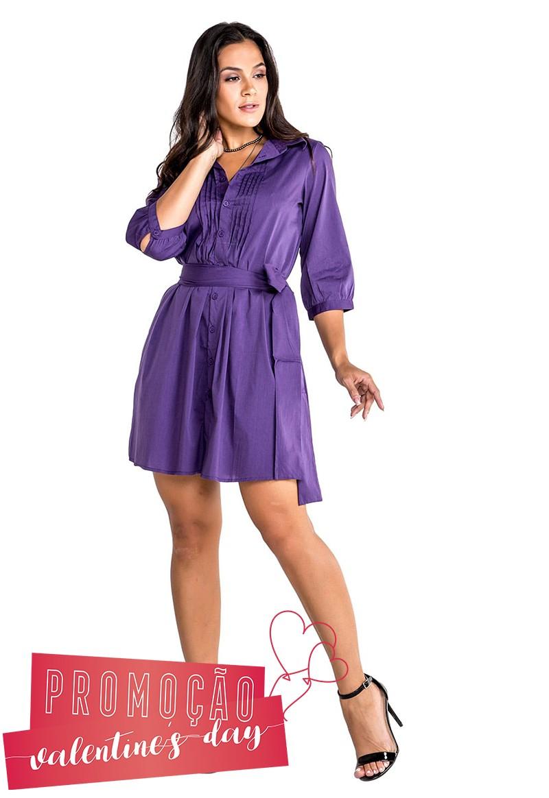 Vestido Chemise Mini com Faixa para Amarração Amora
