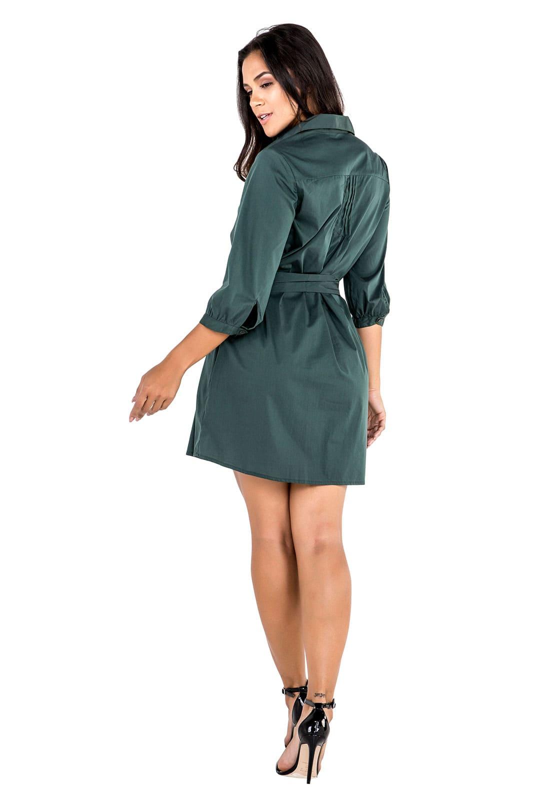 Vestido Chemise Mini com Faixa para Amarração Verde