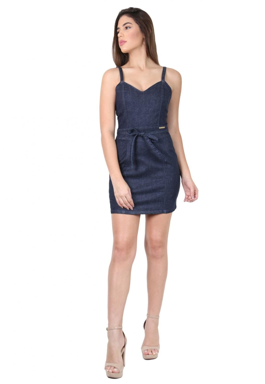 Vestido Curto Laço Azul