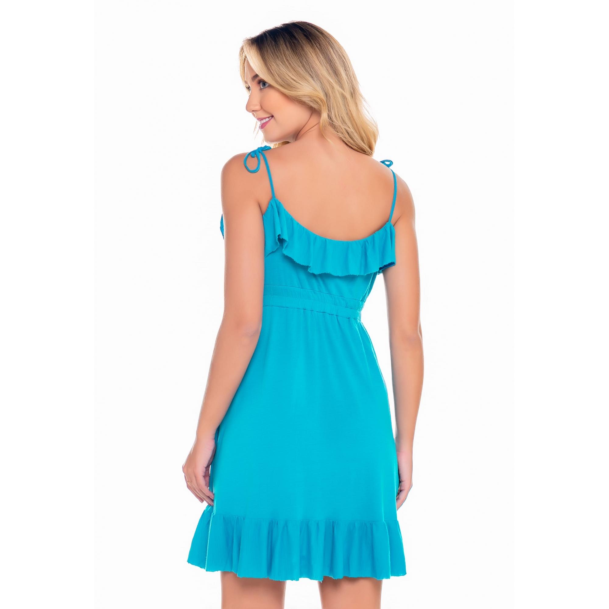 Vestido em Malha Azul Turqueza