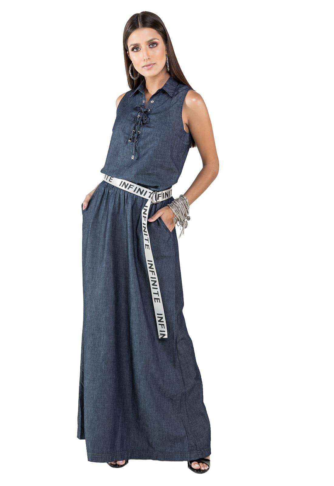 Vestido Longo Jeans Escuro 100% Algodão