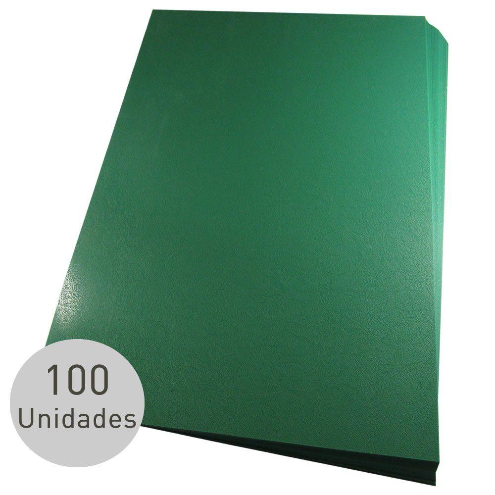 Capa para encadernação Ofício Verde PP Couro 0,30mm 100un