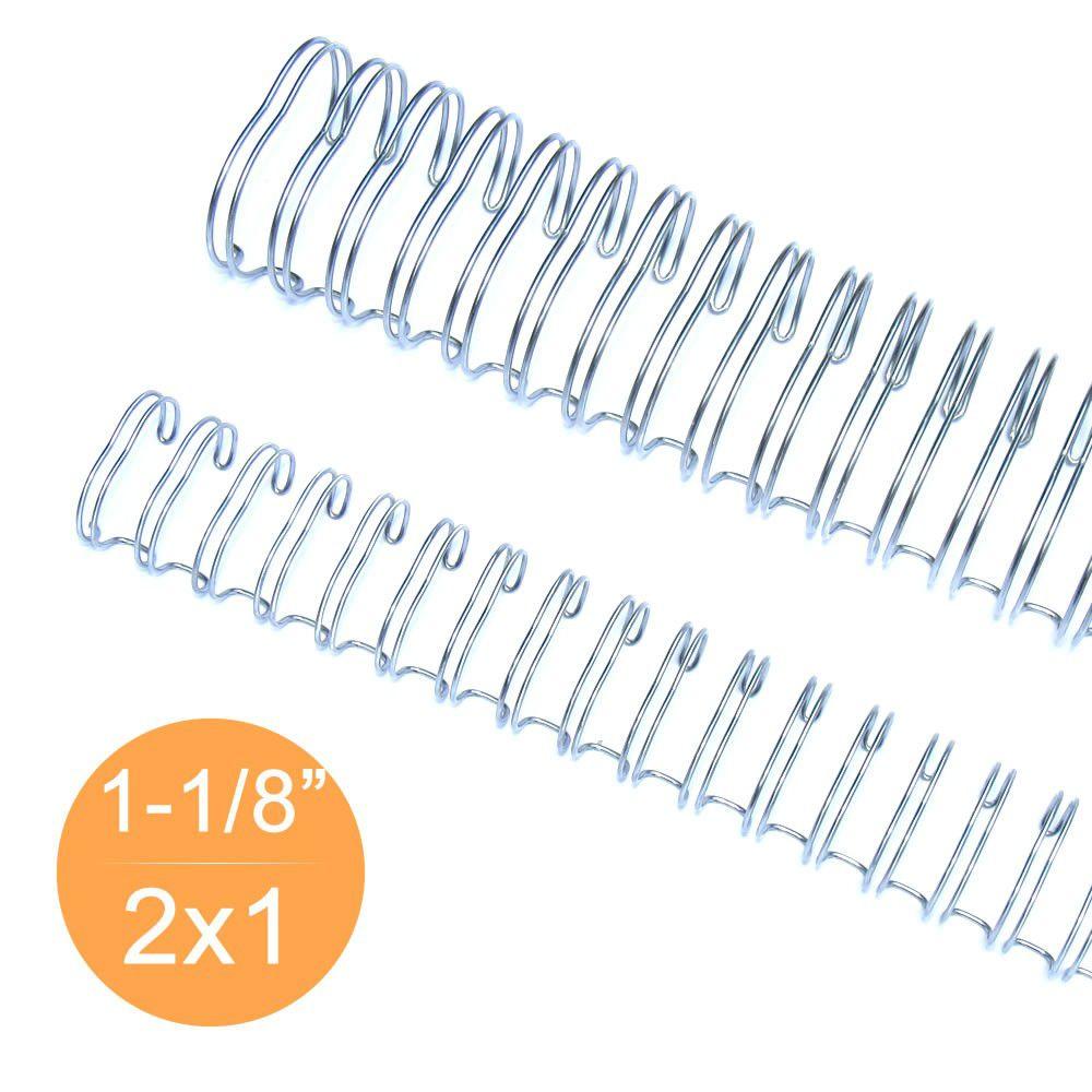 "Wire-o 1""1/8 para 250 fls Ofício 2x1 Prata(Silver) 25 und"