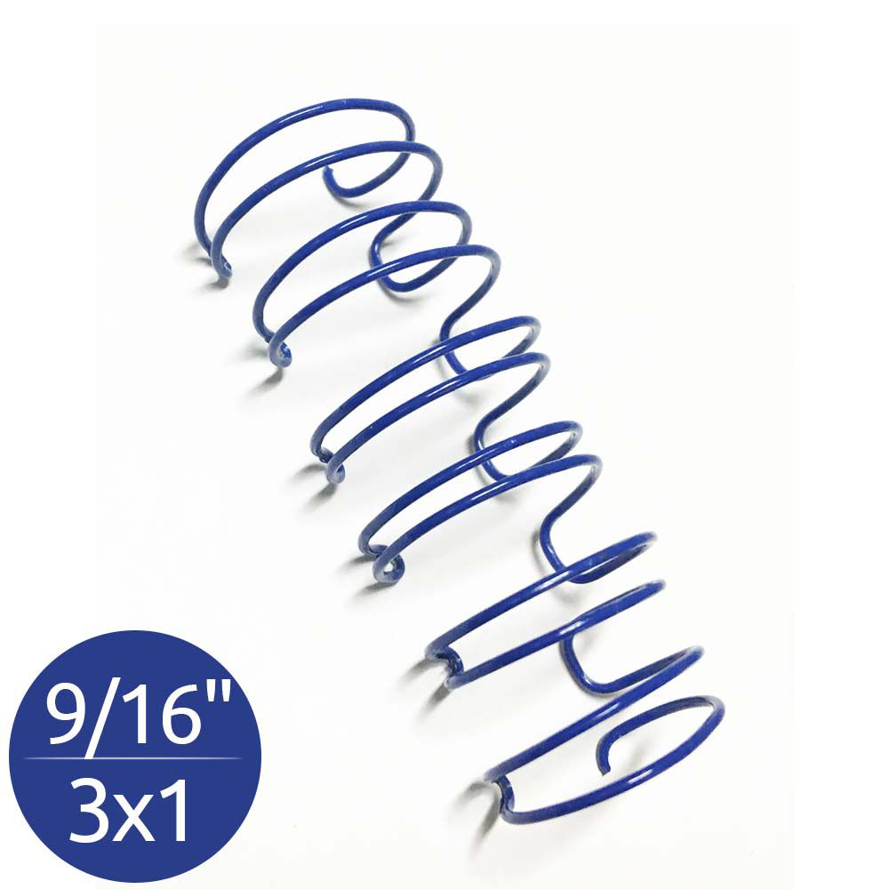 "Wire-o Garra Duplo Anel 9/16"" para 110 fls Ofício 3x1 Azul 100 und"