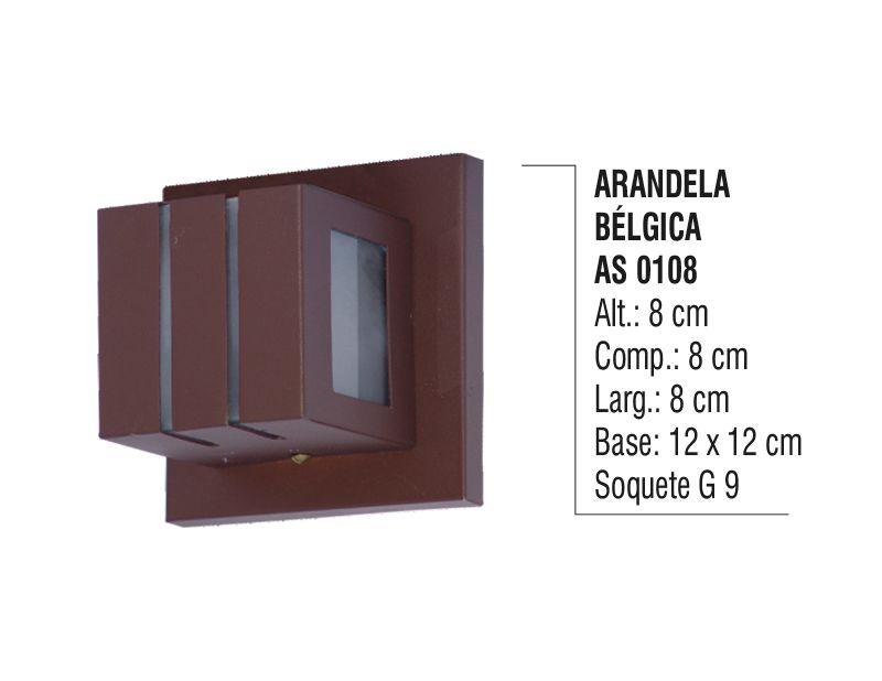 Arandela Externa Interna Bélgica de Parede Alumínio e Vidro
