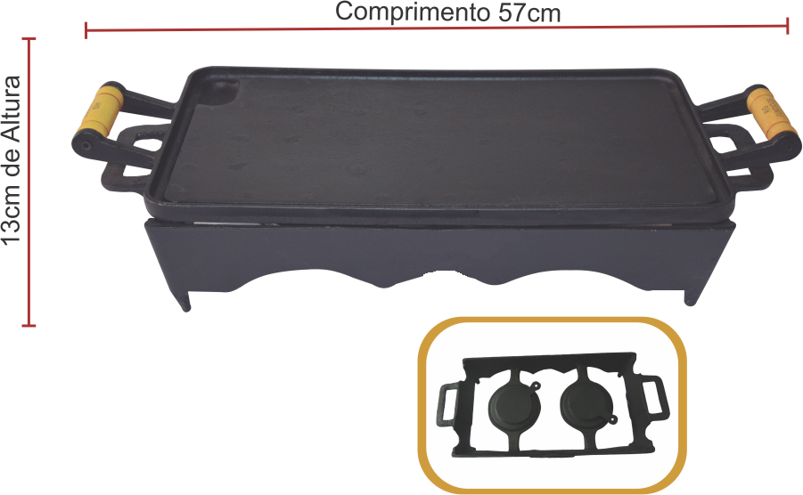 Bifeteira 25x45 Rechaud Com 02 Porta Álcool - Completa