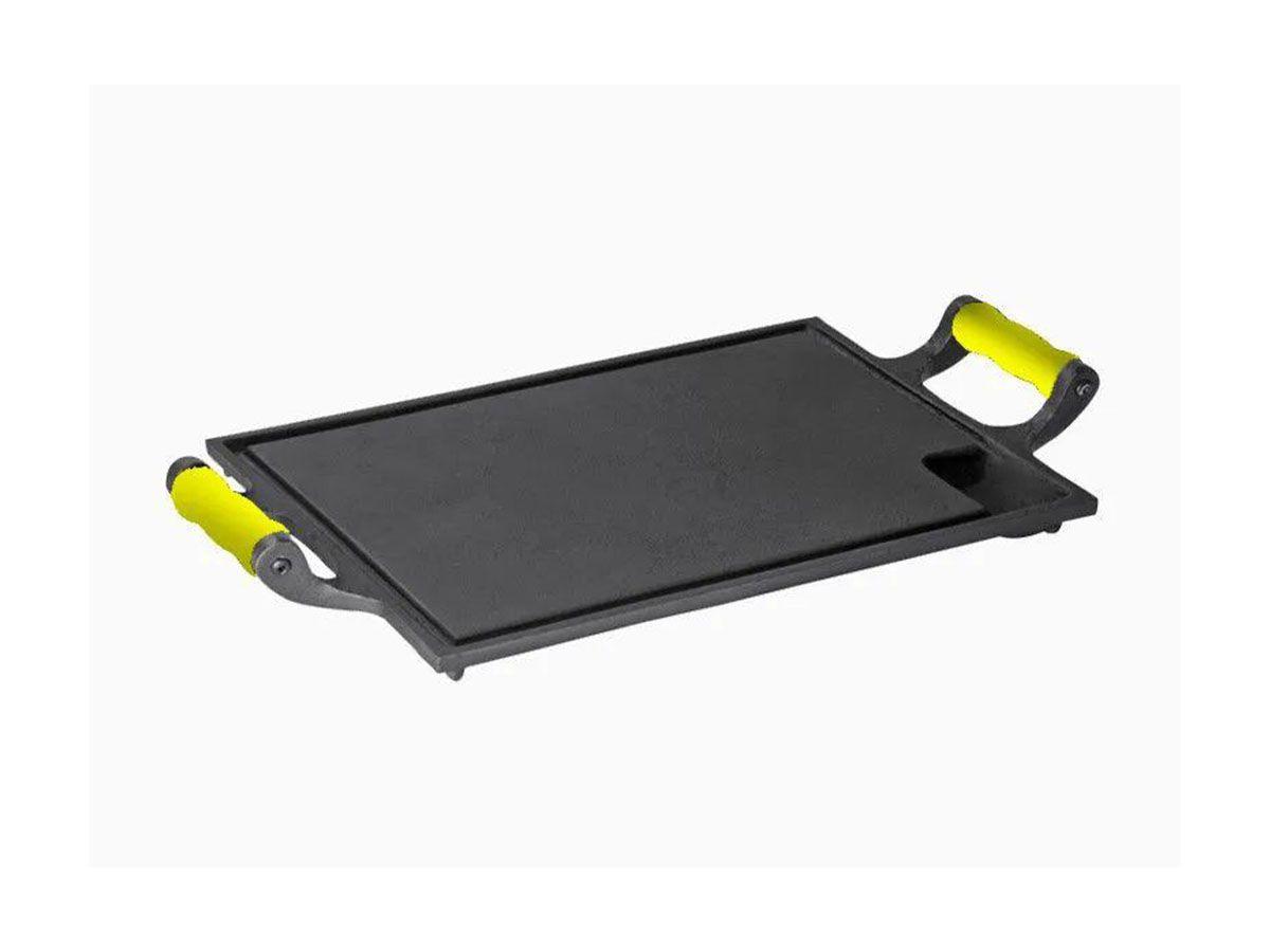 Bifeteira Chapa Ferro Alça Silicone Amarela 25x35 Cm