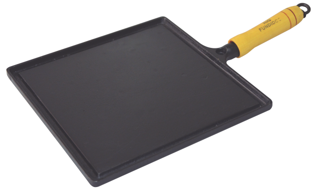 Bifeteira de Ferro Fundido Quadrada Lisa - Medidas 22x22cm