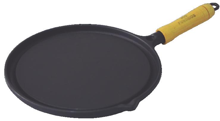 Bifeteira de Ferro Fundido Redonda Lisa - 22cm de Largura