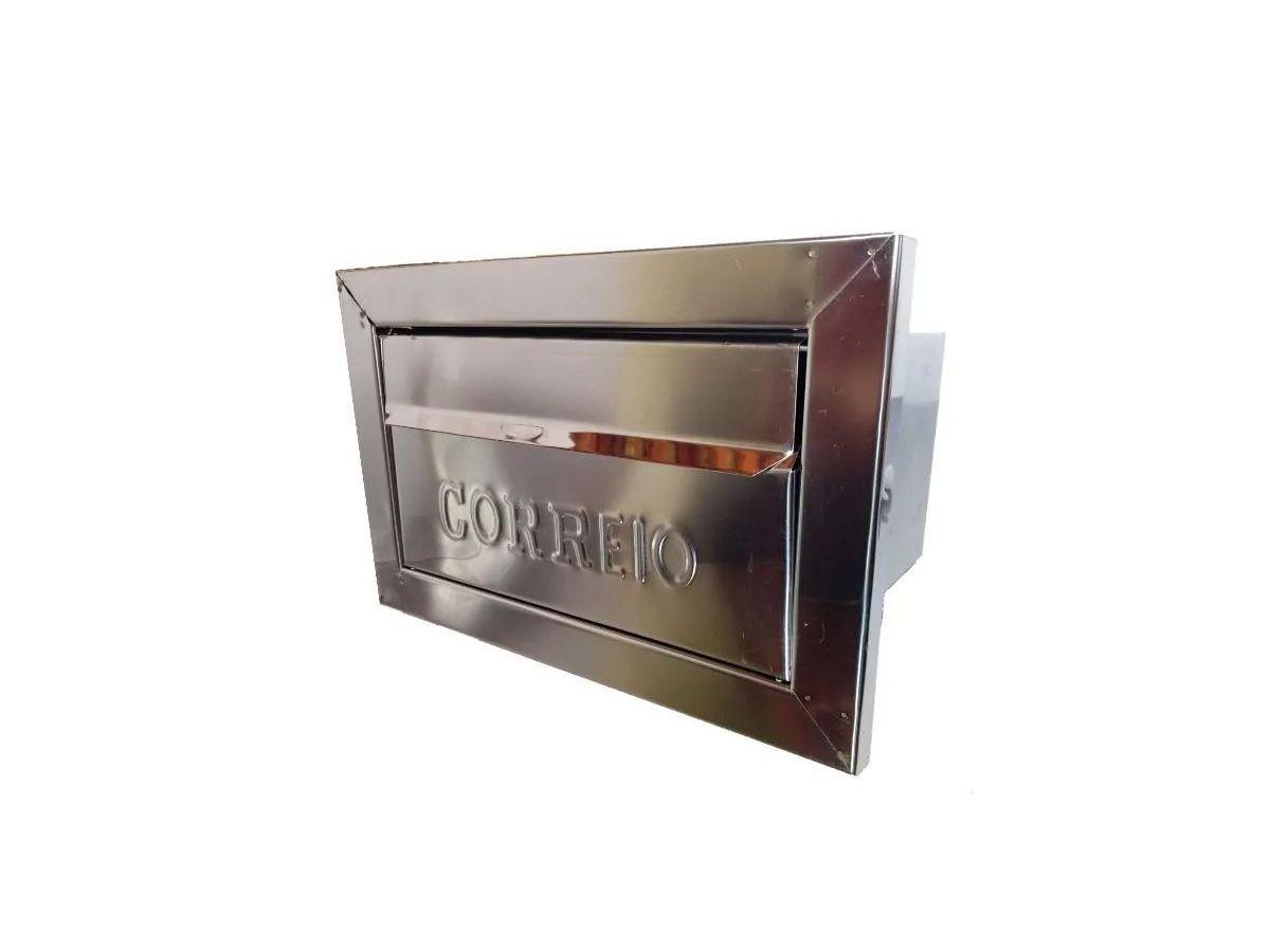 Caixa Correio Galvinox Com Moldura Frente Inox 17x30x15cm