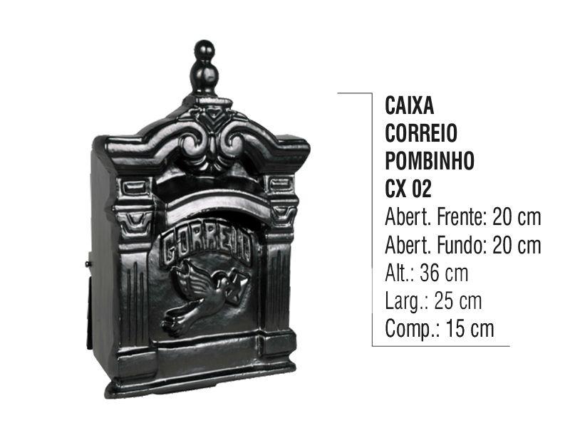 Caixa de Correio Colonial Pombo Pequeno em Alumínio Fundido