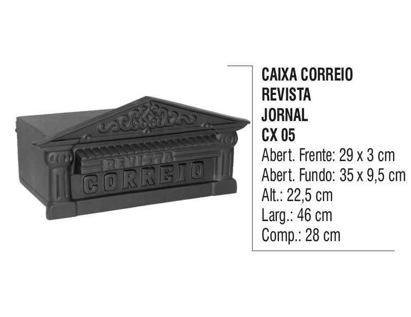 Caixa de Correio Colonial Revista Jornal em Alumínio Fundido