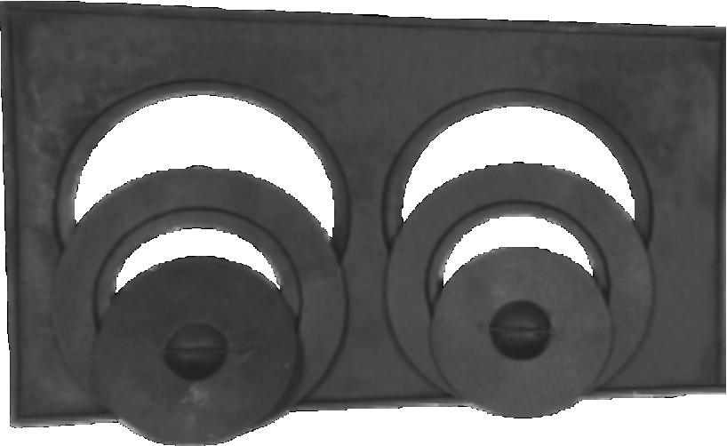Chapa Redução Fogão A Lenha 2 Furos Com Tampa  - 32x54x29cm