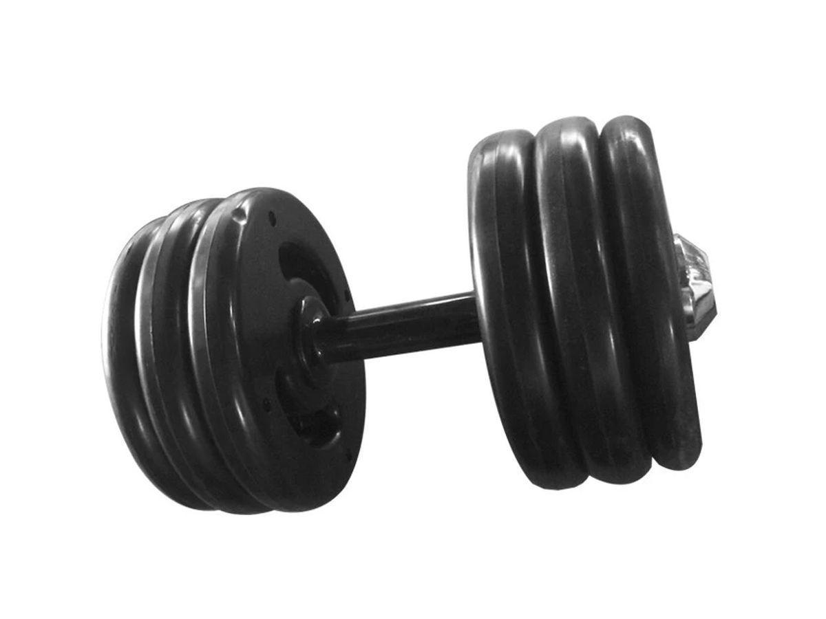 Dumbbell Injetado Pegada Emborrachada Academia Fitness 16kg