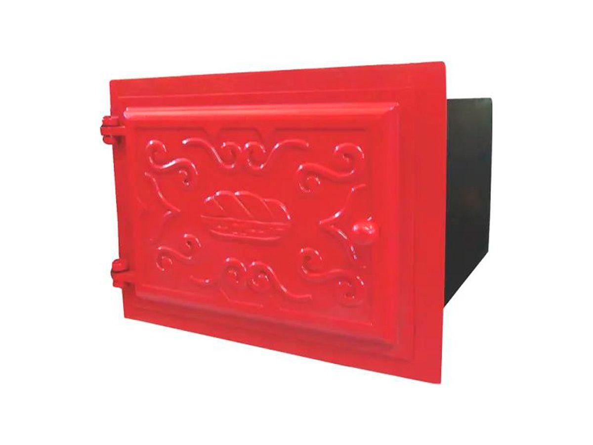 Forno Ferro Fundido Porta De Ferro Vermelho 48x35x30cm P