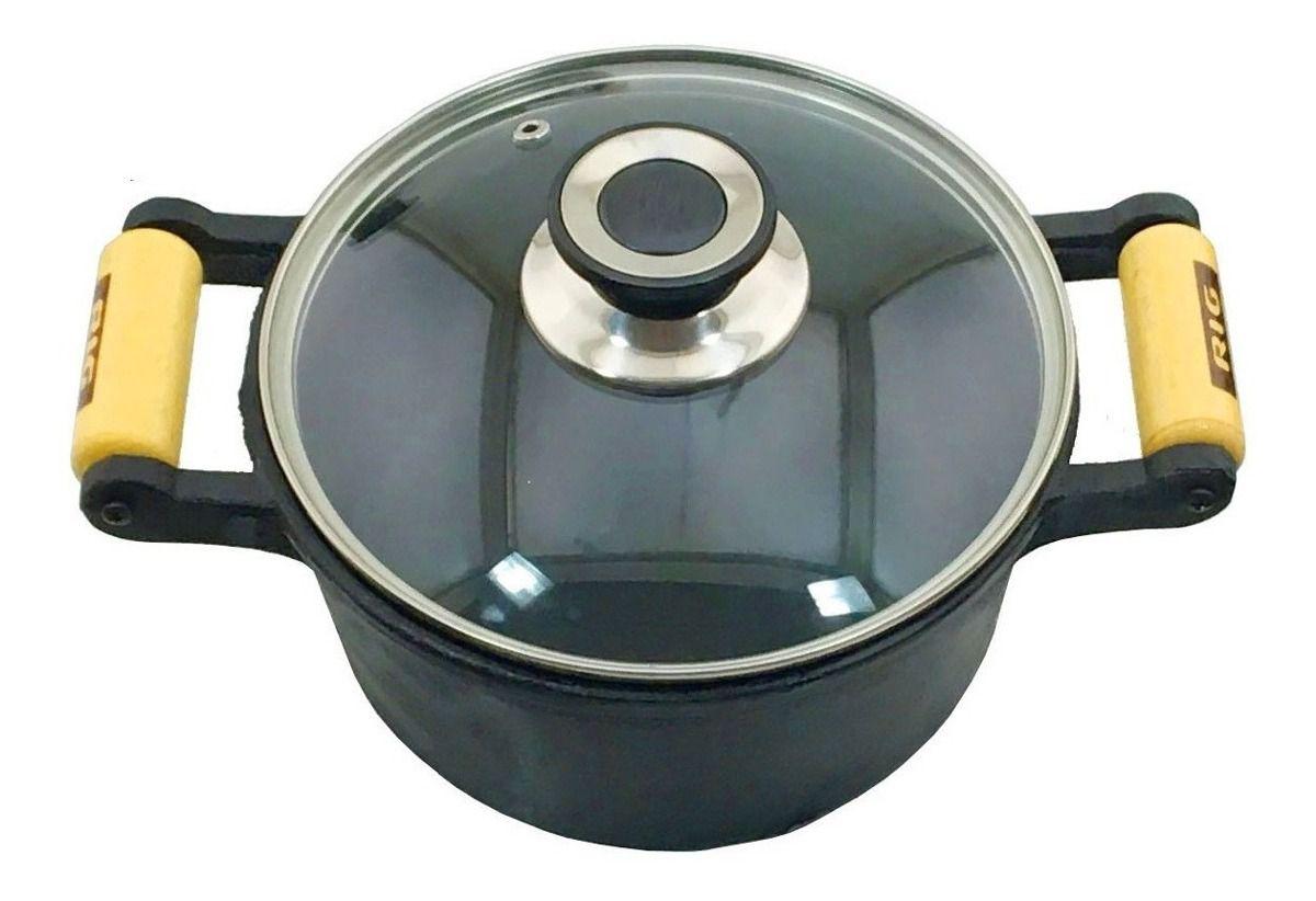 Jogo 3 Caçarolas Tampa Vidro, Tapioca e Cook Grill de Ferro
