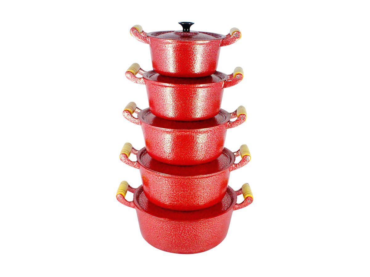 Jogo Caçarola Alumínio Fundido Craqueada Alça Madeira Vermelha 16 a 24
