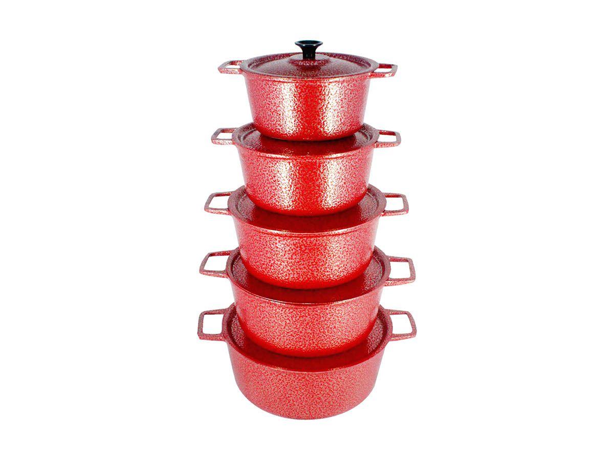Jogo Caçarola Panela Craqueada Alça Alumínio Fundido Vermelho 16 a 24