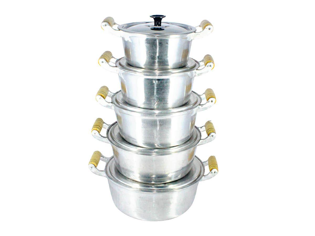 Jogo Caçarolas Alumínio Fundido Polida Alça Madeira 16 a 24