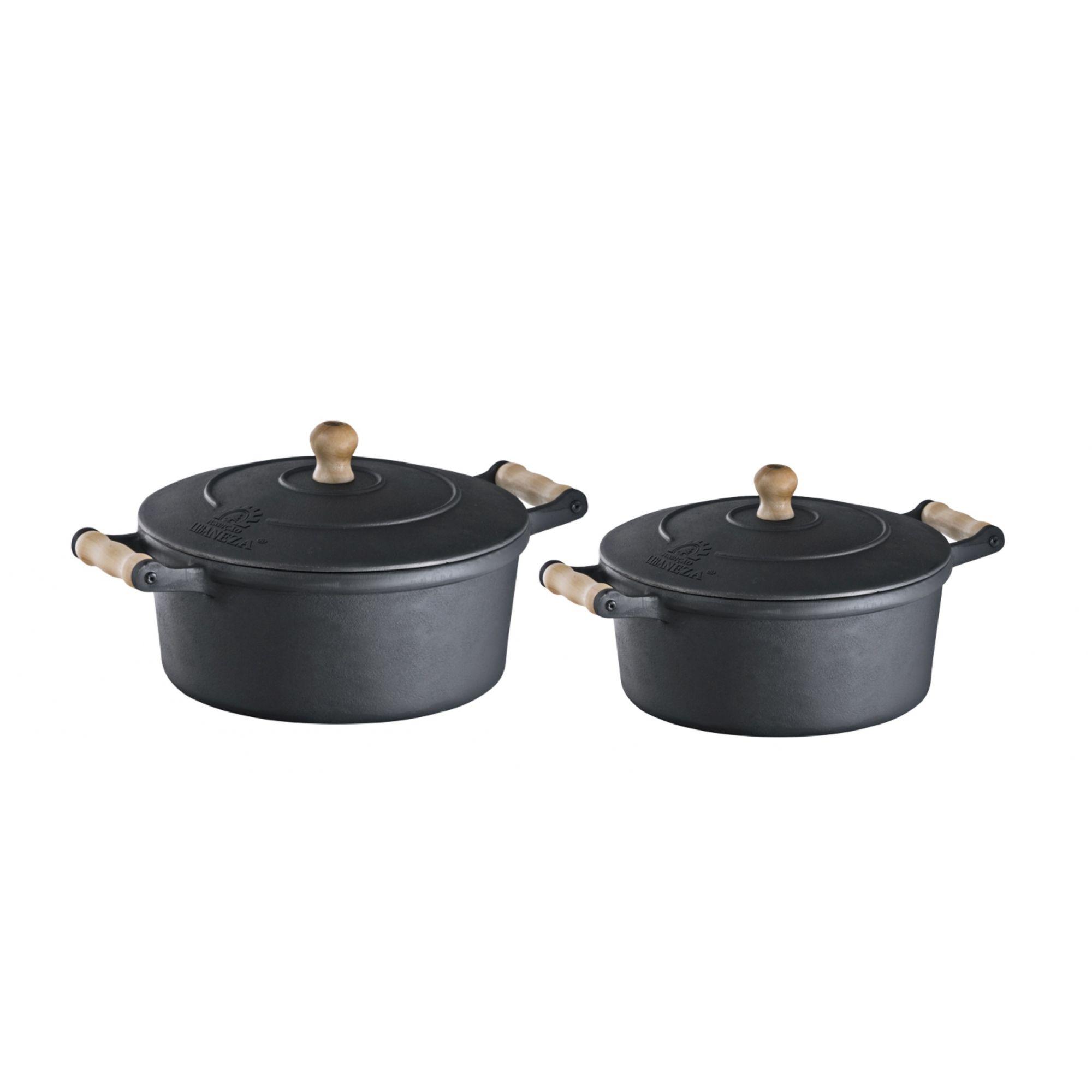 Jogo Panela Cacarola de Ferro e Alça de Madeira 5,9 e 7,6 L