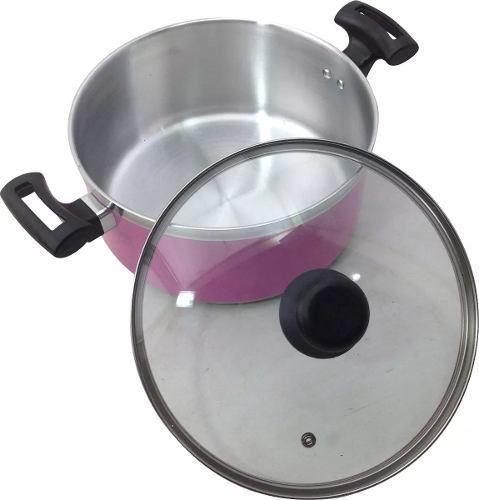 Jogo Panelas Alumínio Rosa Tampa de Vidro - 5 Peças