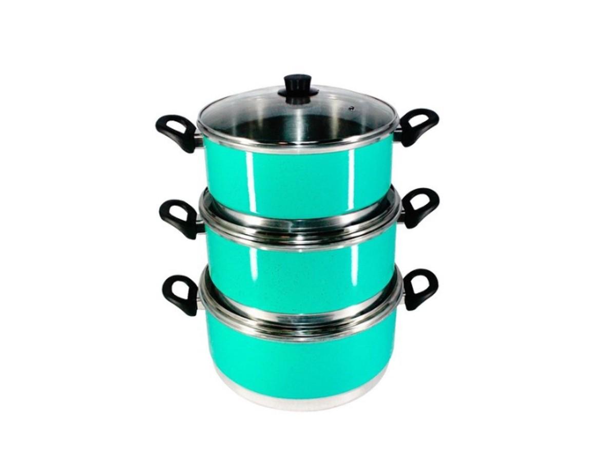 Jogo Panelas Grande (jogão) Verde Água Alumínio 3 Peças