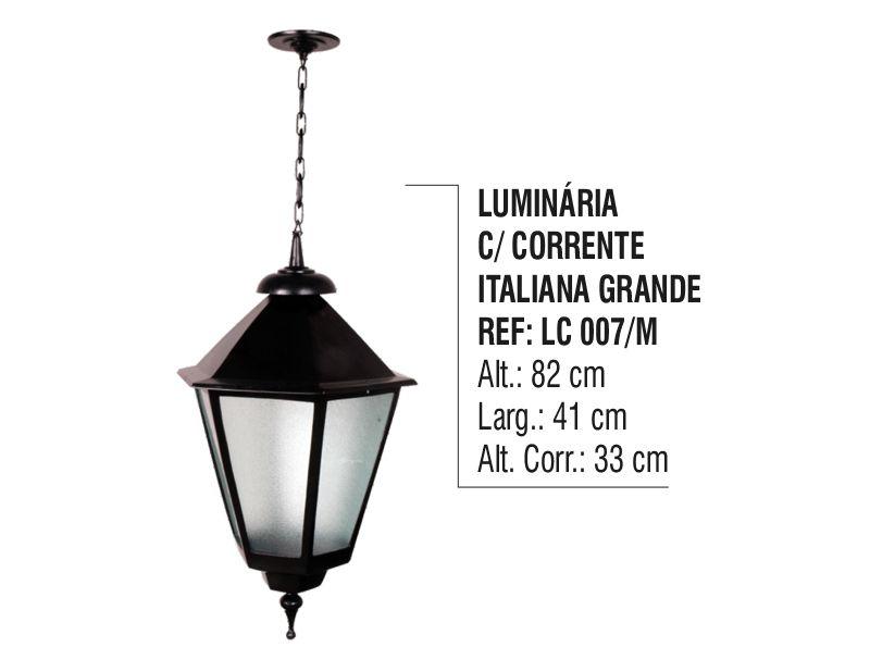 Luminária Colonial Italiana Grande com Corrente em Alumínio