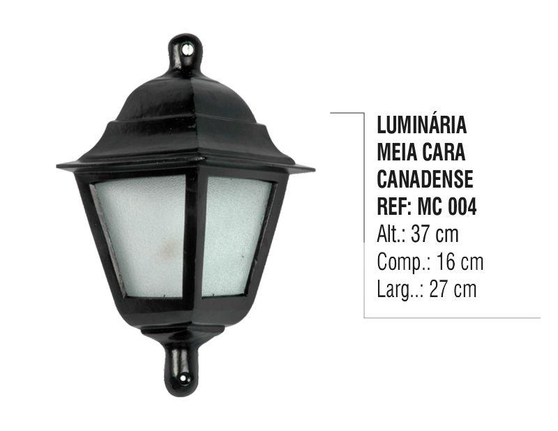 Luminária Colonial Meia Cara Canadense em Alumínio e Vidro