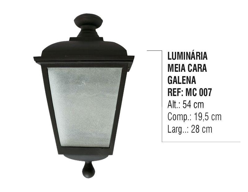 Luminária Colonial Meia Cara Galena em Alumínio e Vidro