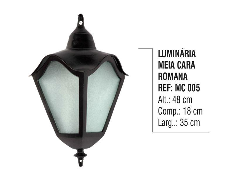 Luminária Colonial Meia Cara Romana em Alumínio e Vidro