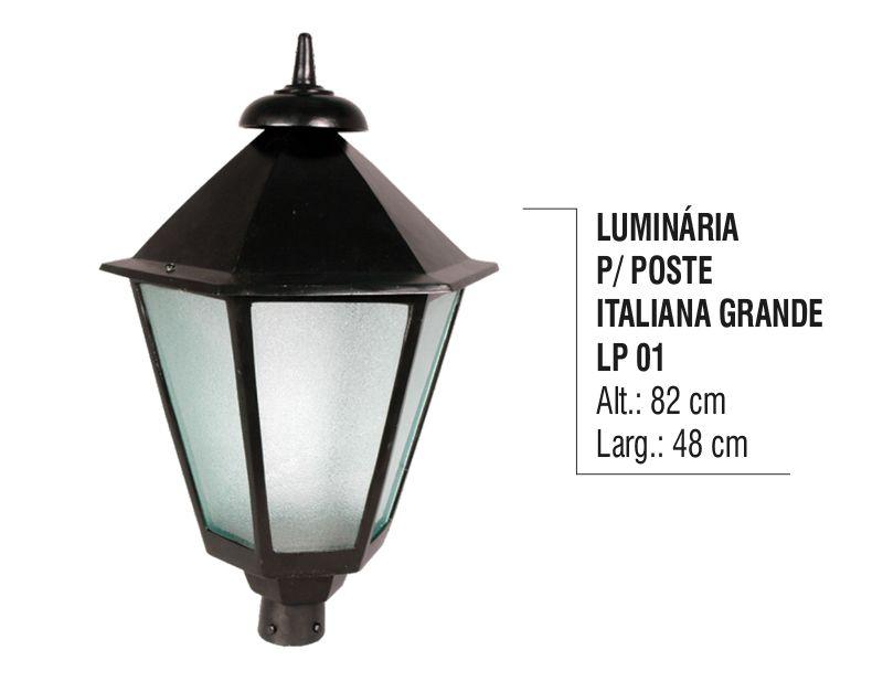 Luminária Colonial para Poste Italiana Grande em Alumínio