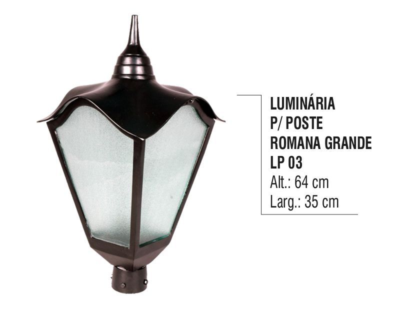 Luminária Colonial para Poste Romana Grande em Alumínio