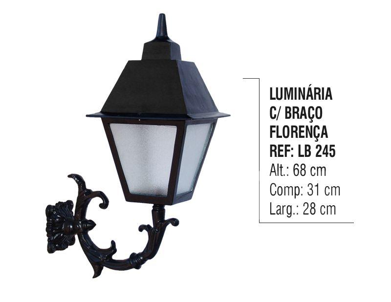 Luminária Florença com Braço Externo/interno Alumínio 68cm