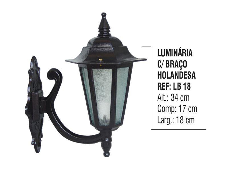 Luminária Holandesa com Braço Externa/interna Alumínio 34cm