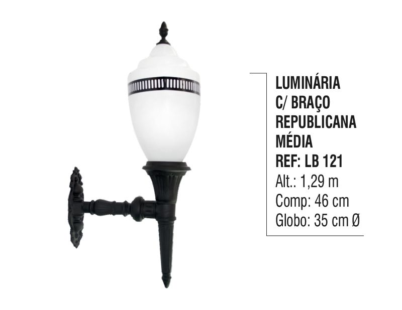 Luminária Republicana Média com Braço em Alumínio 1,29m