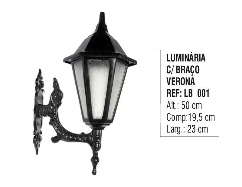Luminária Verona com Braço Externa/interna em Alumínio 50cm