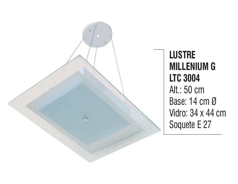 Lustre Contemporâneo de Teto Millenium G Alumínio e Vidro
