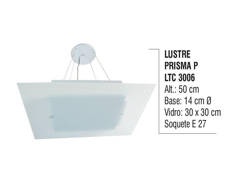 Lustre Contemporâneo de Teto Prisma P Alumínio e Vidro
