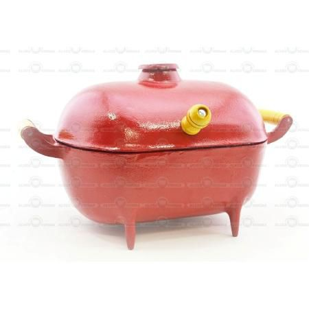Mini Churrasqueira Bafo Alumínio Fundido Craqueada Vermelha