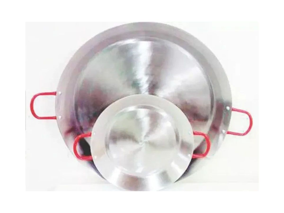 Paellera Tacho Aço Inox 2mm 1,5 Litros 25cm Alça Vermelha