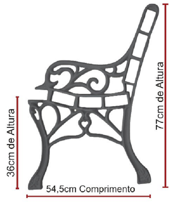 Par Pé de Banco Francês Praça Decoração Ferro Fundido