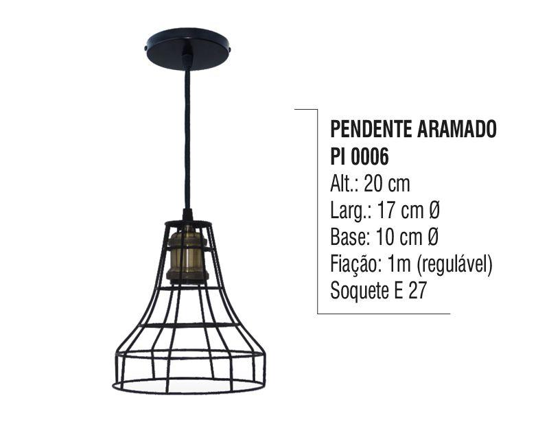 Pendente Lustre Luminária de Teto Aramado Cúpula Aço e Vidro
