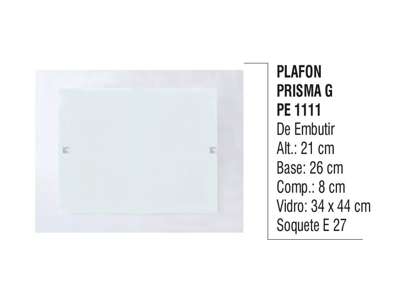 Plafon Teto e Parede Prisma G de Embutir Alumínio e Vidro