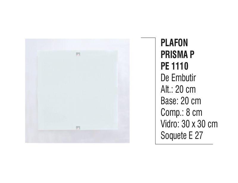 Plafon Teto e Parede Prisma P de Embutir Alumínio e Vidro