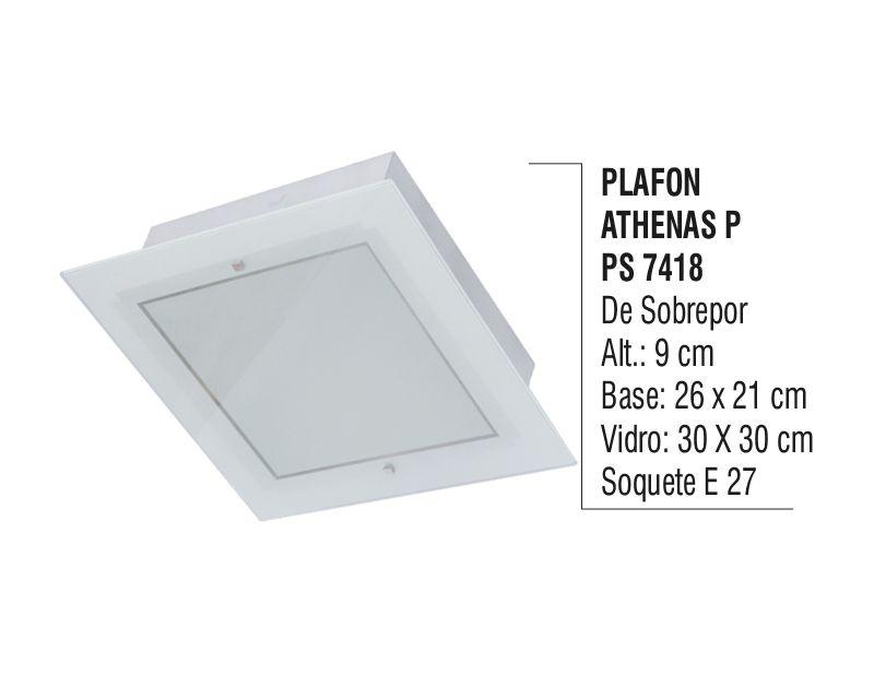 Plafon Teto Parede Athenas P de Sobrepor Alumínio e Vidro